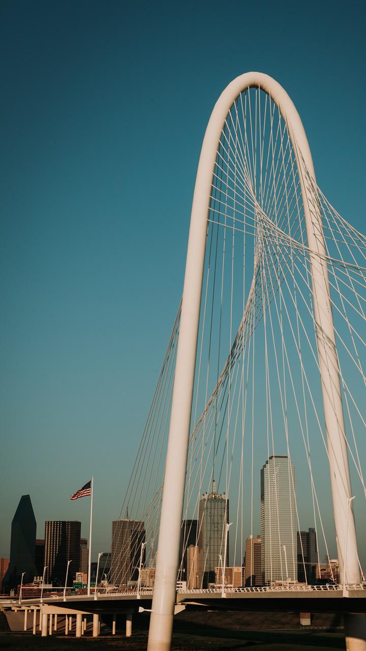 Dallas Skyline and Margaret Hunt Hill Bridge from Continental Avenue Bridge West Dallas.