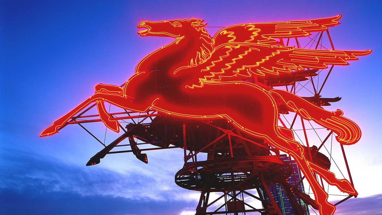 The restored original Pegasus seen at dusk during the Omni Lawn Party at the Omni Dallas Hotel