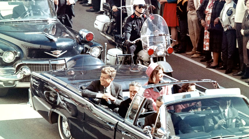 Prior to the assassination, President John F. Kennedy, First Lady Jacqueline Kennedy, and Texas Governor John Connally ride through the streets of Dallas, Texas on November 22, 1963. Included as an exhibit for the Warren Commission.