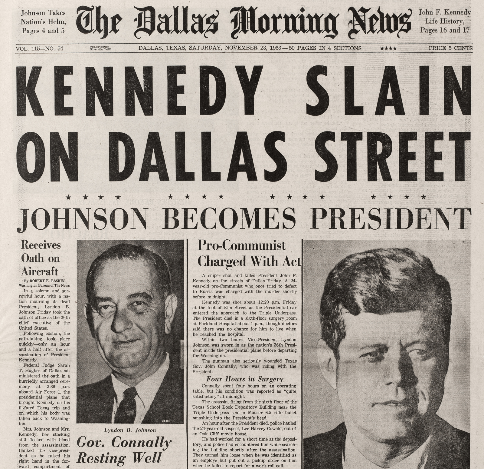 The Dallas Morning News front page November 23rd 1963.