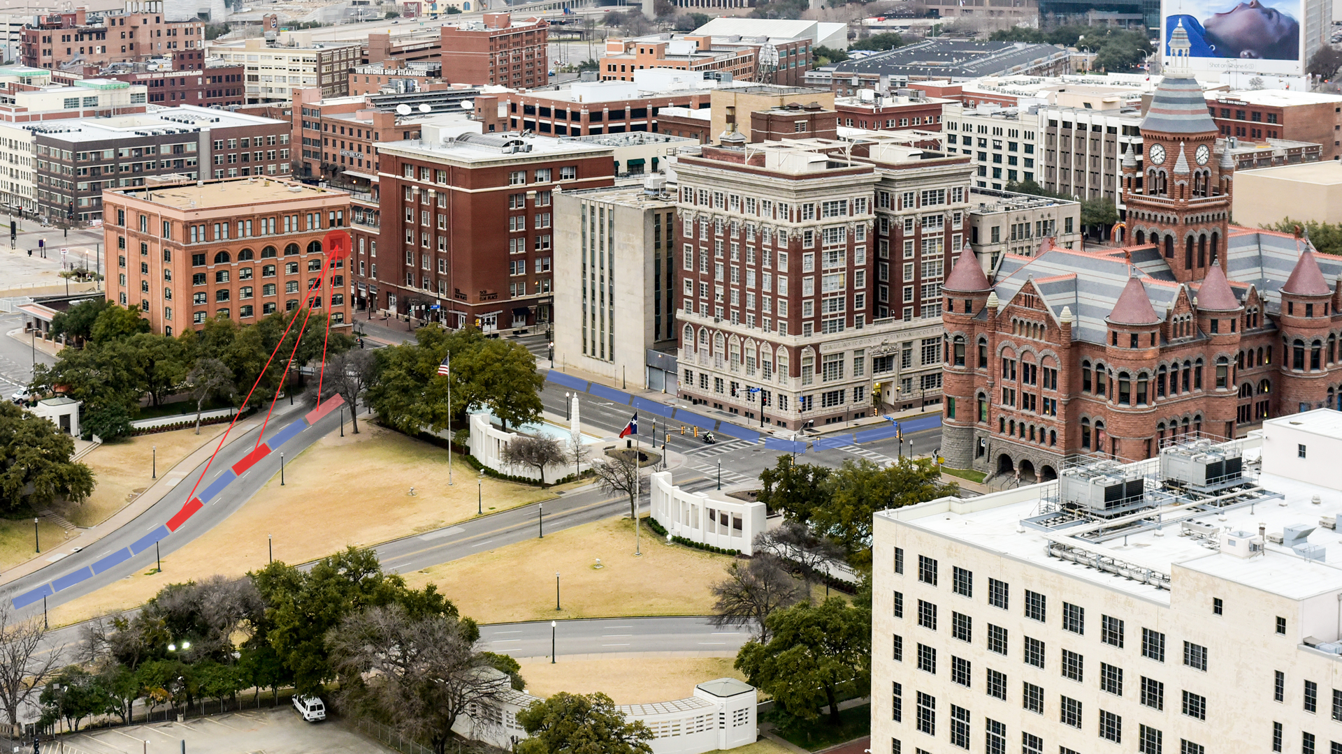 View of Dealey Plaza, the plaza is a significant part of Dallas history.